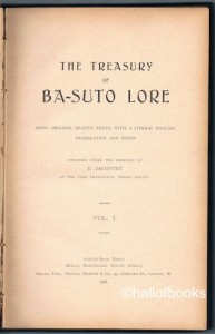 "E. Jacottet ""The Treasury Of Ba-Suto Lore: Being Original Se-Suto Texts, With A Literal English Translation And Notes. Vol. 1"""